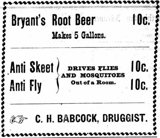 Bryant's Root Beer Ad 1898 Babcock Worthington Advance